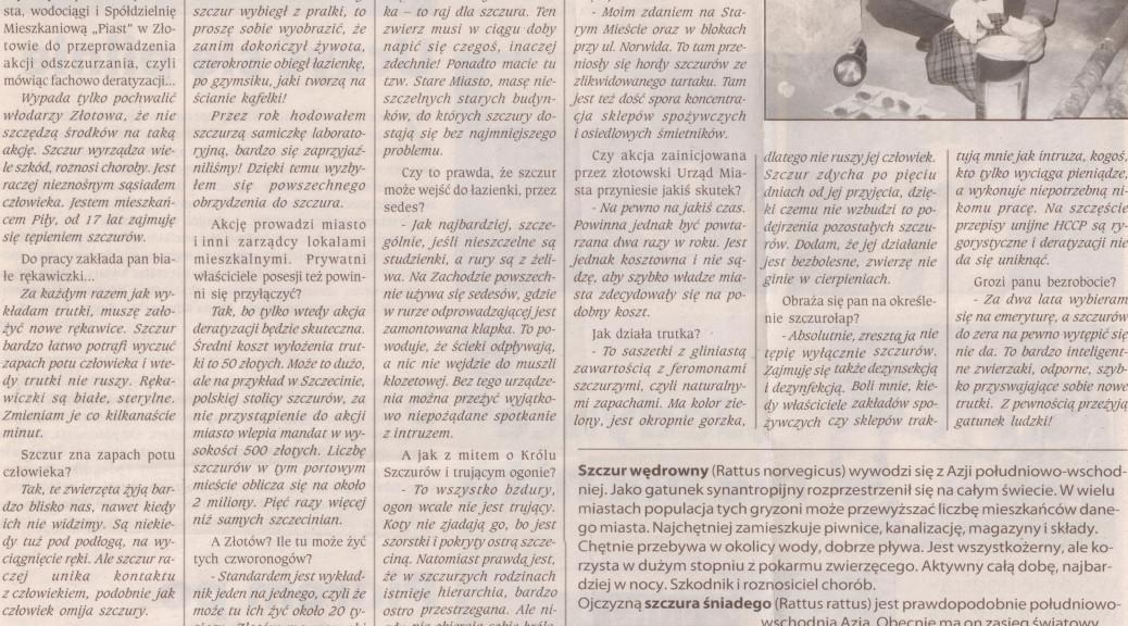 Zawód - szczurołap artykuł o Jerzym Spychale